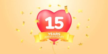15 years anniversary vector logo, icon. Template banner, symbol with heart shape air hot balloon for 15th anniversary greeting card icon