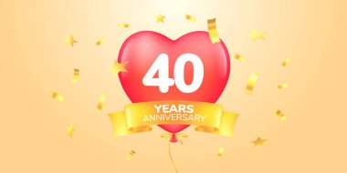 40 years anniversary vector logo, icon. Template banner, symbol with heart shape air hot balloon for 40th anniversary greeting card icon