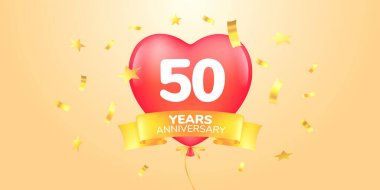 50 years anniversary vector logo, icon. Template banner, symbol with heart shape air hot balloon for 50th anniversary greeting card icon
