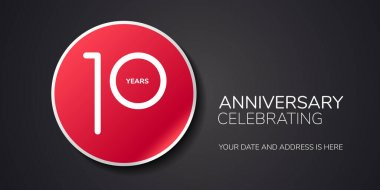 10 years anniversary vector logo, icon. Template design element with number for 10th anniversary greeting card or invitation icon