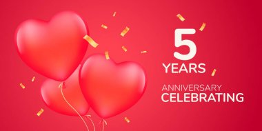 5 years anniversary vector logo, icon. Template banner with 3d red air balloons for 5th anniversary marriage greeting card icon