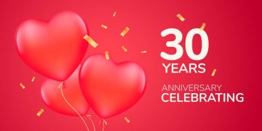 30 years anniversary vector logo, icon. Template banner with 3d red air balloons for 30th anniversary marriage greeting card icon