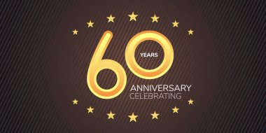 60 years anniversary vector icon,  logo. Graphic design element with golden neon digit for 60th anniversary card icon