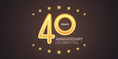 40 years anniversary vector icon,  logo. Graphic design element with golden neon digit for 40th anniversary card icon