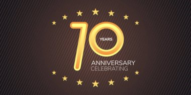 70 years anniversary vector icon,  logo. Graphic design element with golden neon digit for 70th anniversary card icon