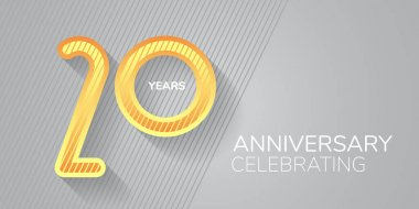 20 years anniversary vector icon,  logo. Neon number and bodycopy for 20th anniversary greeting card, invitation icon