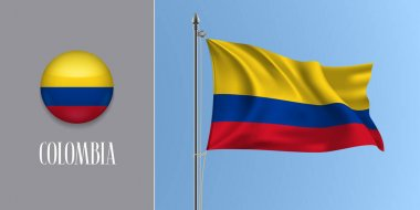 Colombia waving flag on flagpole and round icon vector illustration. Realistic 3d mockup of tricolor of Colombian flag and circle button icon