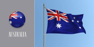 Australia waving flag on flagpole and round icon vector illustration. Realistic 3d mockup of stars and cross of Australian flag and circle button icon