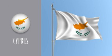 Cyprus waving flag on flagpole and round icon vector illustration. Realistic 3d mockup of flag with island and circle button icon