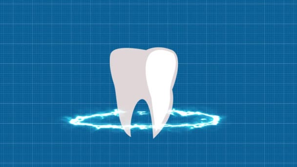 Tooth on a black background, template design element,Tooth protection, neon glow
