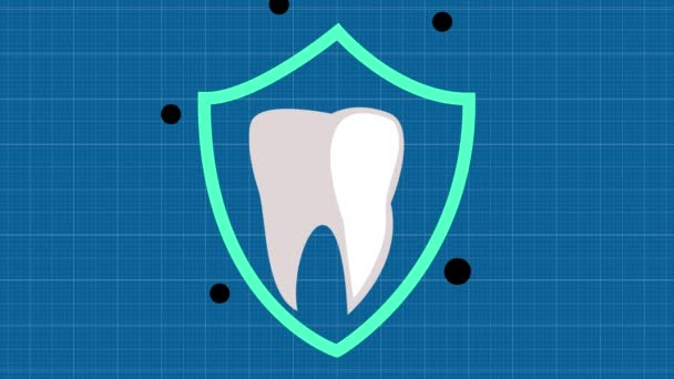 Teeth protection. Tooth with a shield. The tooth is protected from caries.