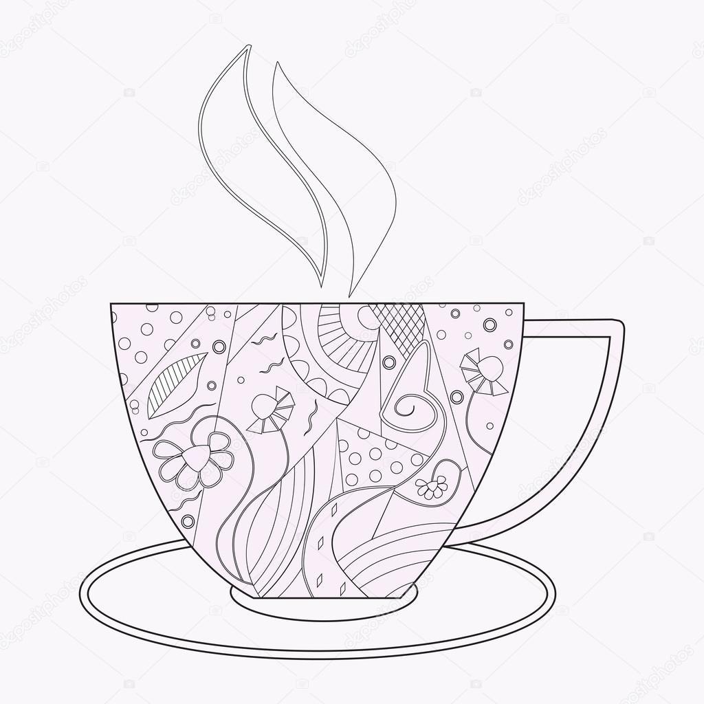 раскраски кофе вектор чая или кофе чашка с абстрактным