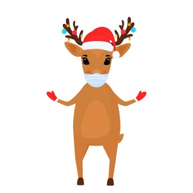 A reindeer Christmas cartoon character wears a protective face mask. icon