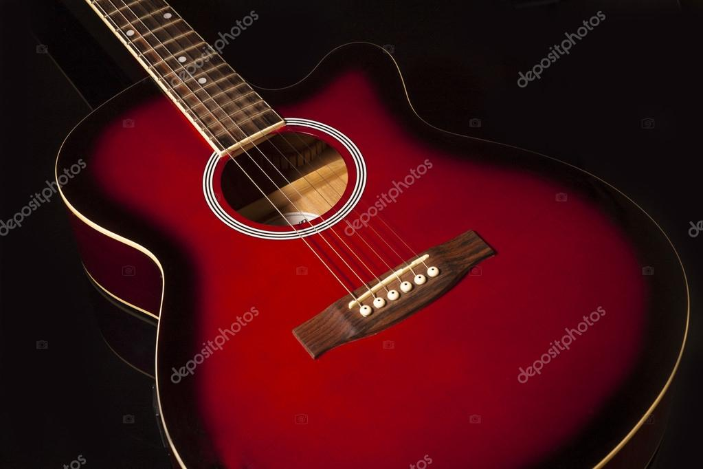 Acoustic Guitar On Black Background Stock Photo C Kon Frog71 Gmail