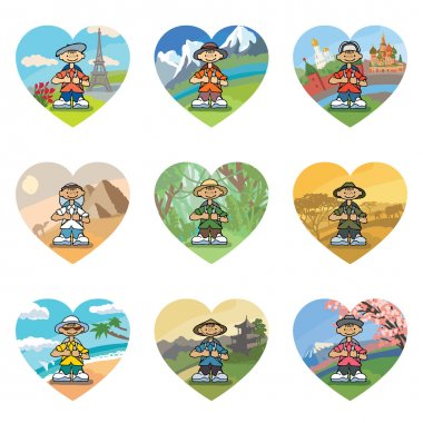 Set of 9 icons in the shape of a heart with smiling little travelers around the world