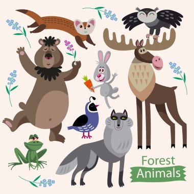 Vector set of cartoon forest animals on a white background.