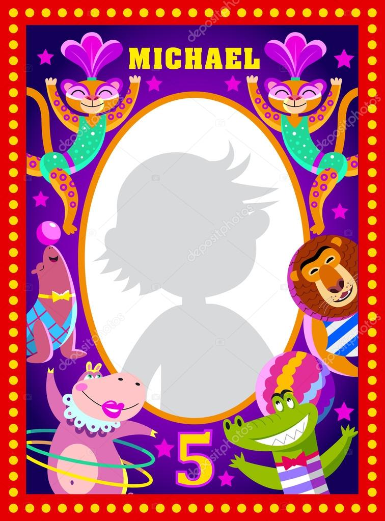 Kids photo frame with circus artists — Stock Vector © Natalizart ...