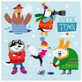 Photo Vector Set of Cute Arctic and Polar Animals: walrus, penguin, husky, arctic fox and polar bear.