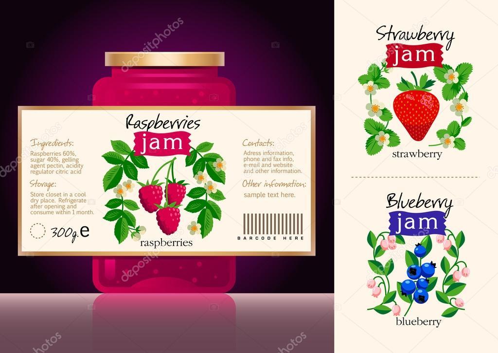 berries jam label collection template of lebel design stock