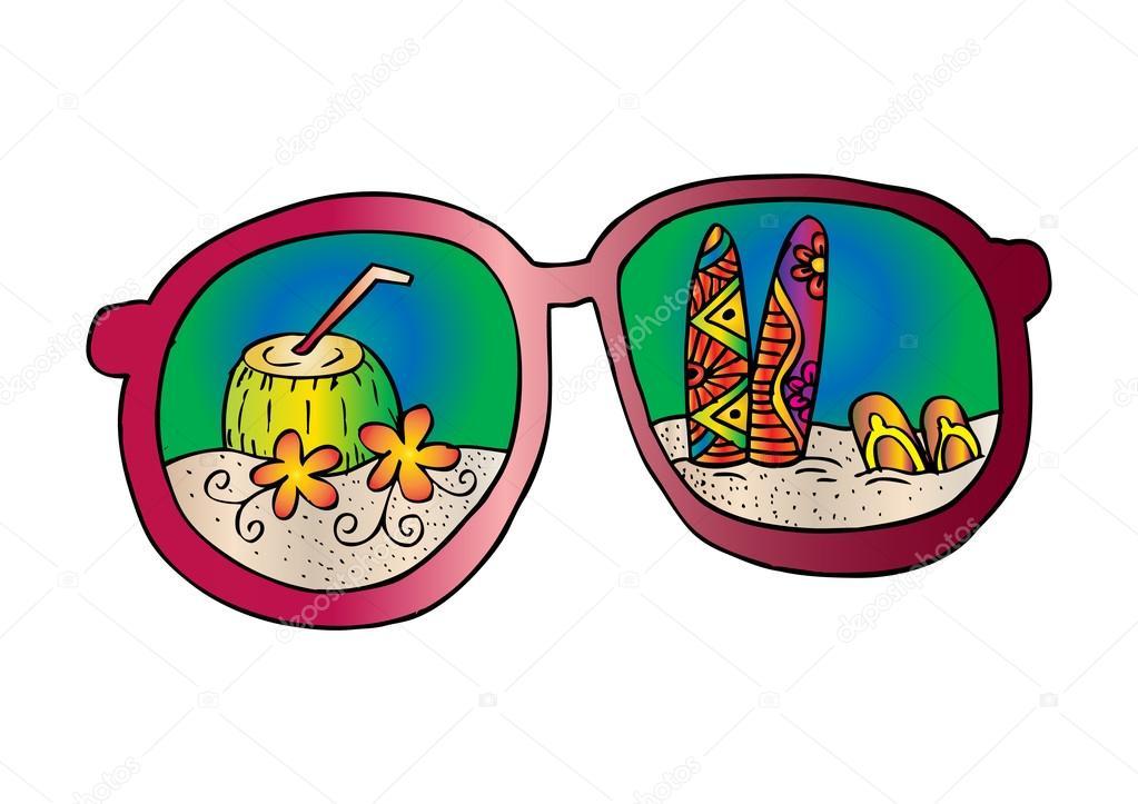 a1ae85bc889fd Plage d été, avec lunettes de soleil. Illustration dessin main– images de  stock libres de droits
