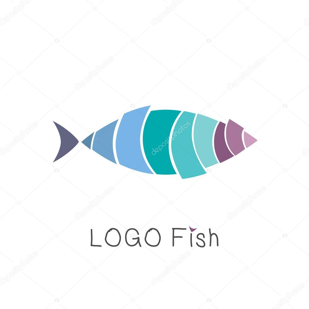 Abstract Tropical Fish Logo Design Template Emblem Badge Icon Isolated Perfect