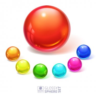 Glossy spheres with reflections