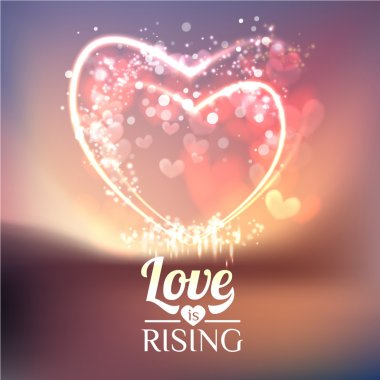 Valentines Day Card With Hearts, Love Is Rising Lettering, Lights And Blurs, vector illustration clip art vector