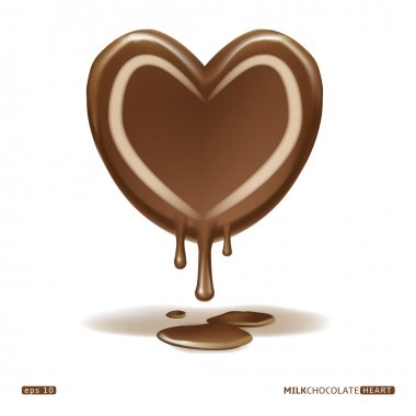 Melting milk chocolate heart