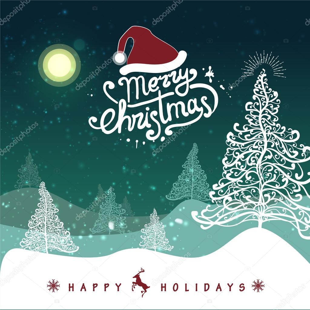 Frohe Weihnachten-Landschaft-Karte — Stockvektor © tanjasum84.gmail ...
