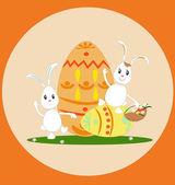 Ostern aggs und weiße Kaninchen.