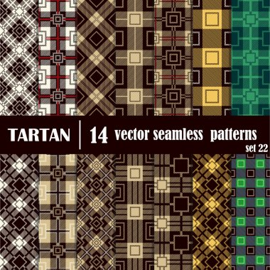 Set tartan seamless pattern in different colors.