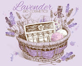 Lavender natural cosmetics basket.