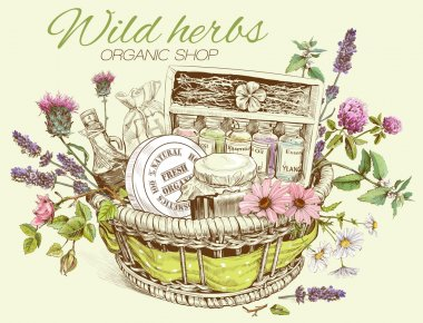 Herbal cosmetics basket