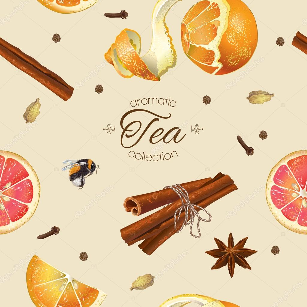 Spice tea seamless pattern