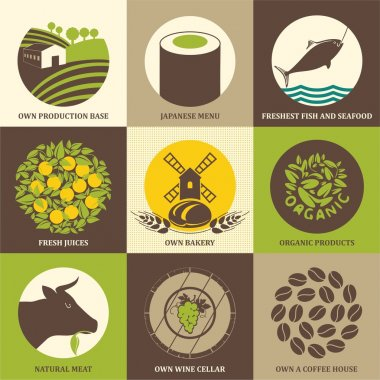 Set of icons for food, restaurants, cafes and supermarkets. Organic food vector illustration