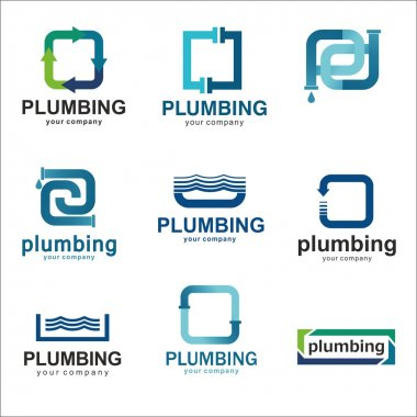 Flat logo design for plumbing company. Vector templates logos plumbing with text