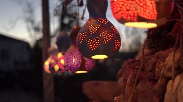 Designed lanterns with coloured decorative ornaments light