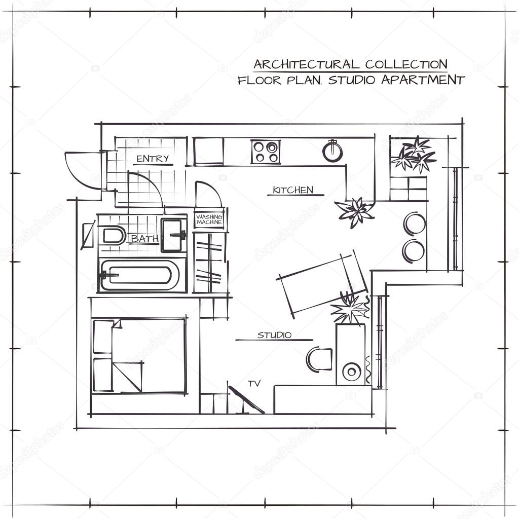 Blueprint studio apartment stock vector darinadozimail architectural hand drawn floor plan studio apartment vector by darinadozimail malvernweather Images