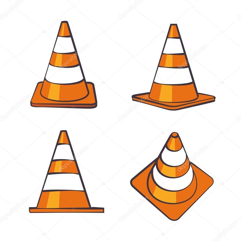 conjunto de cones de tráfego dos desenhos animados vetores de