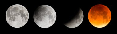 Composite image of the moon during a total lunar eclipse