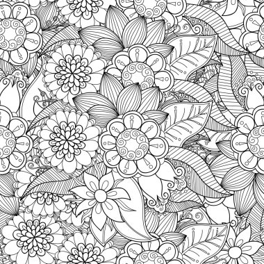 Doodle flowers seamless pattern.