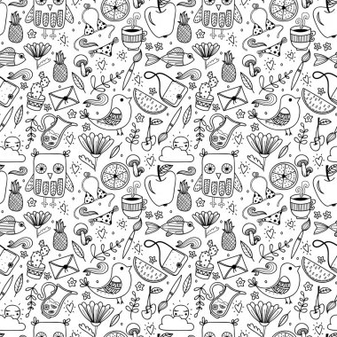 "Картина, постер, плакат, фотообои ""Doodle summer set vector seamless pattern"", артикул 117647512"