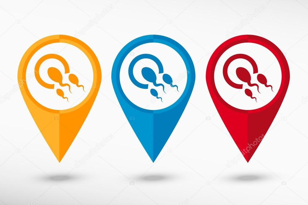 Mapa Plano Con Pin Icono De Puntero De La: Espermatozoides Y óvulo Icono Mapa Puntero, Ilustración