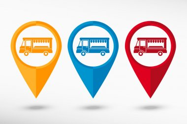 Food truck icon  map pointer, vector illustration