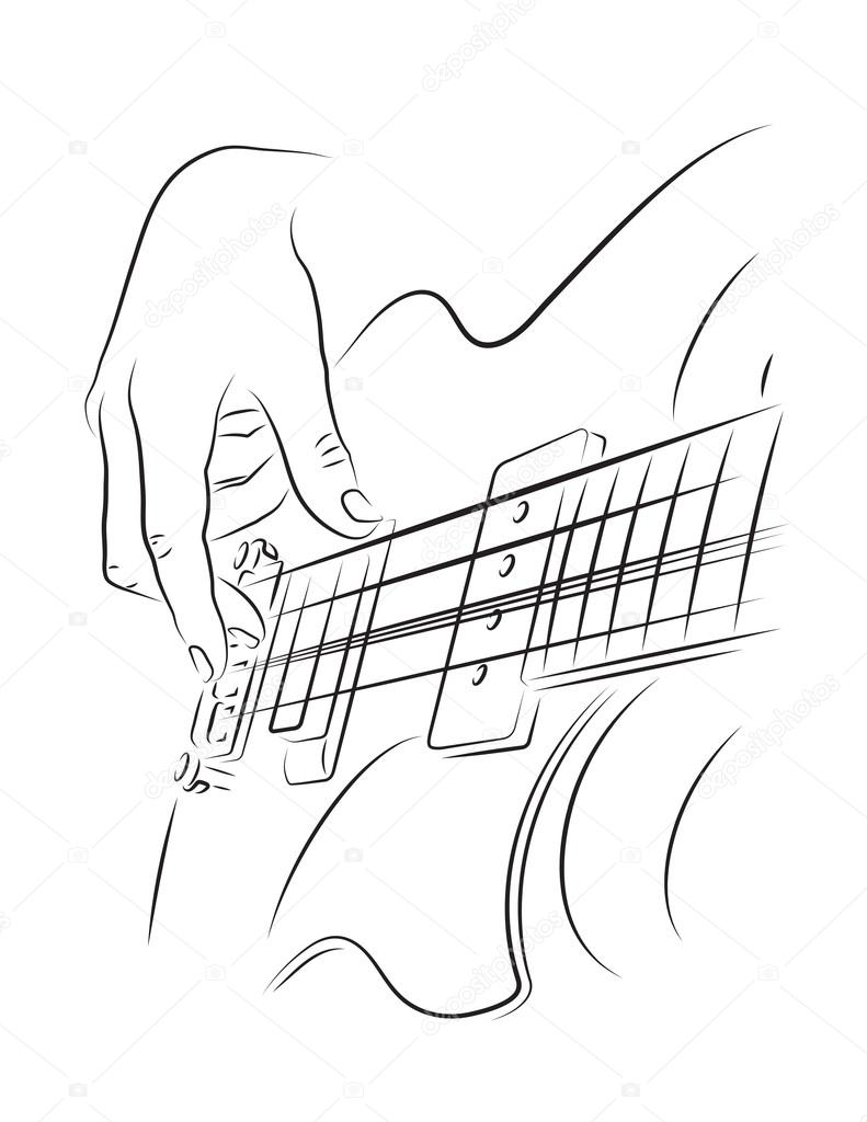 playing bass illustration stock vector dominykas isterikas lt Green Bass Strings playing bass line art illustration finger picking string vector by dominykas isterikas lt
