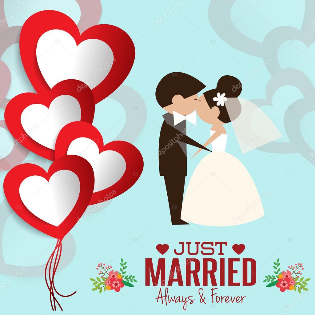 Illustration of lovely sweet couple wedding.Cute wedding invitation ...