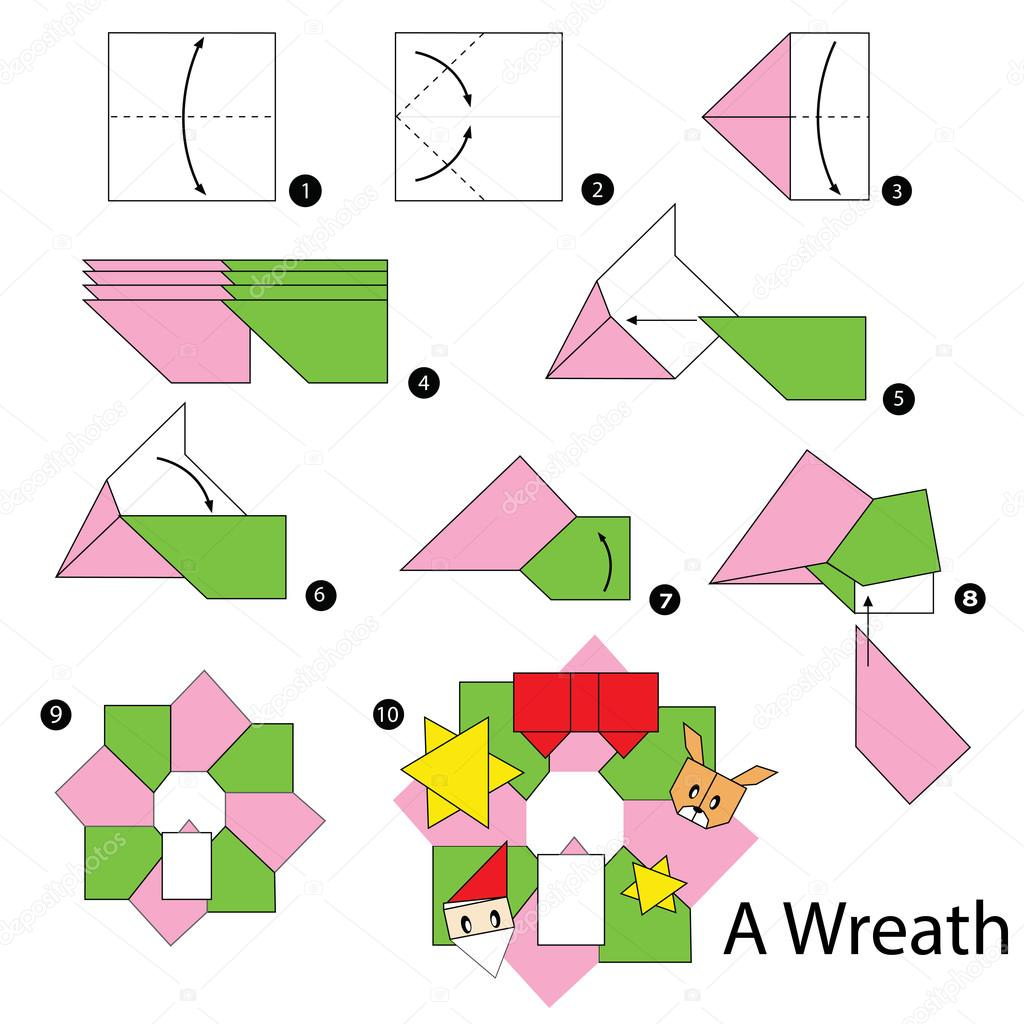 Step By Step Instructions How To Make Origami Christmas Wreath