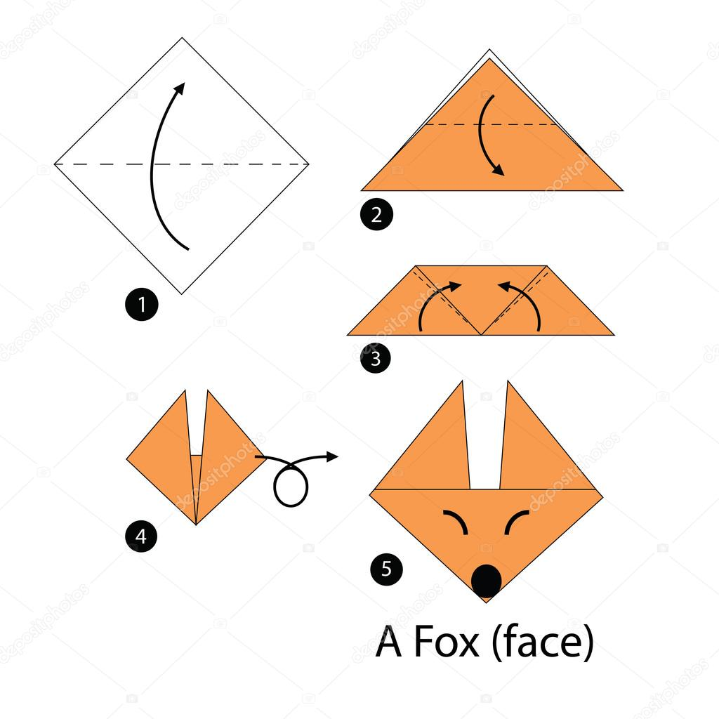 Step by step instructions how to make origami a fox stock animal toy cartoon cute paper steps origami vector by pokky334hotmail jeuxipadfo Gallery