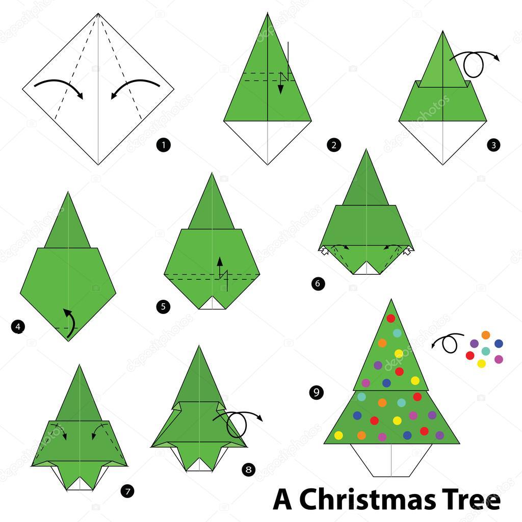 Paso a paso las instrucciones de c mo hacer rbol de - Arbol de navidad de origami ...