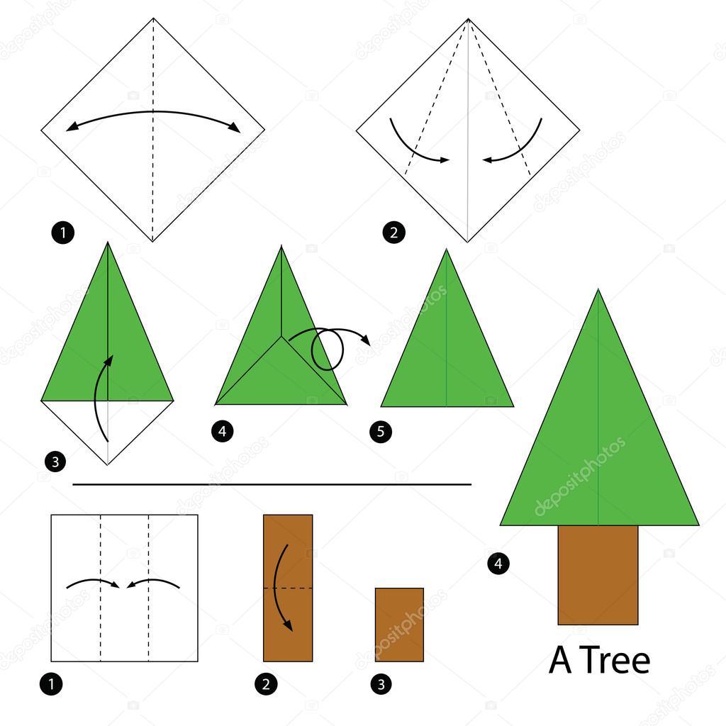 Comment Faire Des Arbres En Papier destiné étape par étape comment faire origami un arbre — image vectorielle